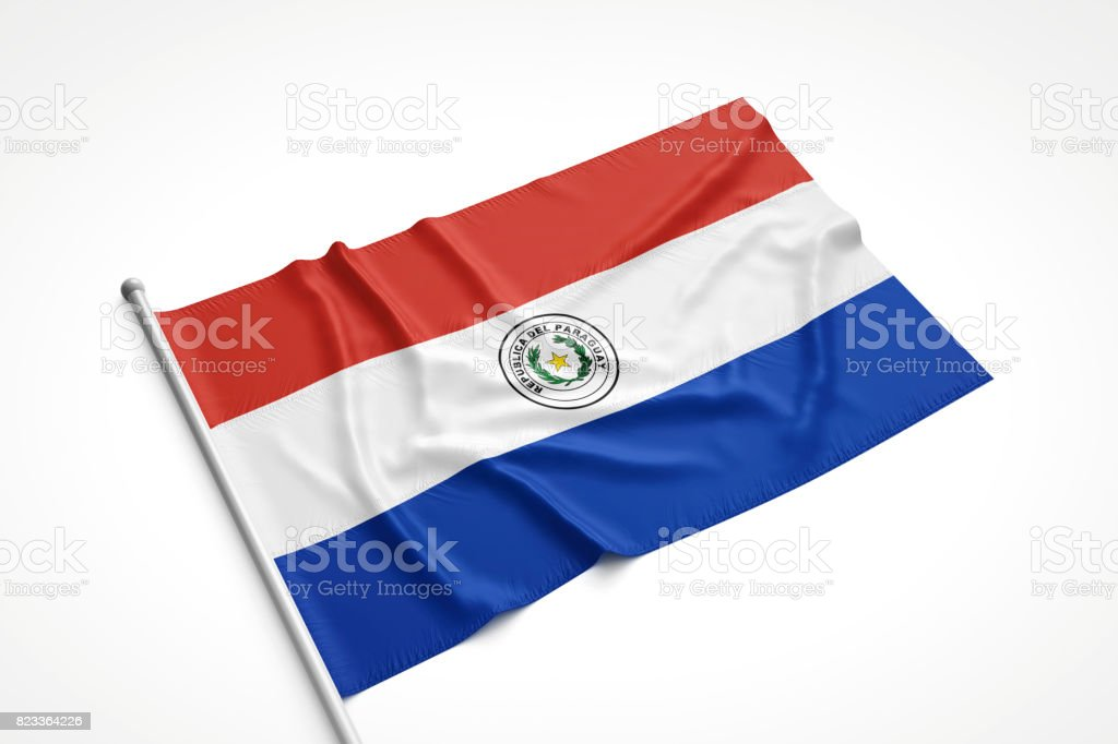 Paraguay Flag is Laying on a White Surface stock photo