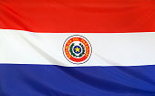 Paraguay Flag real fabric seamless close up