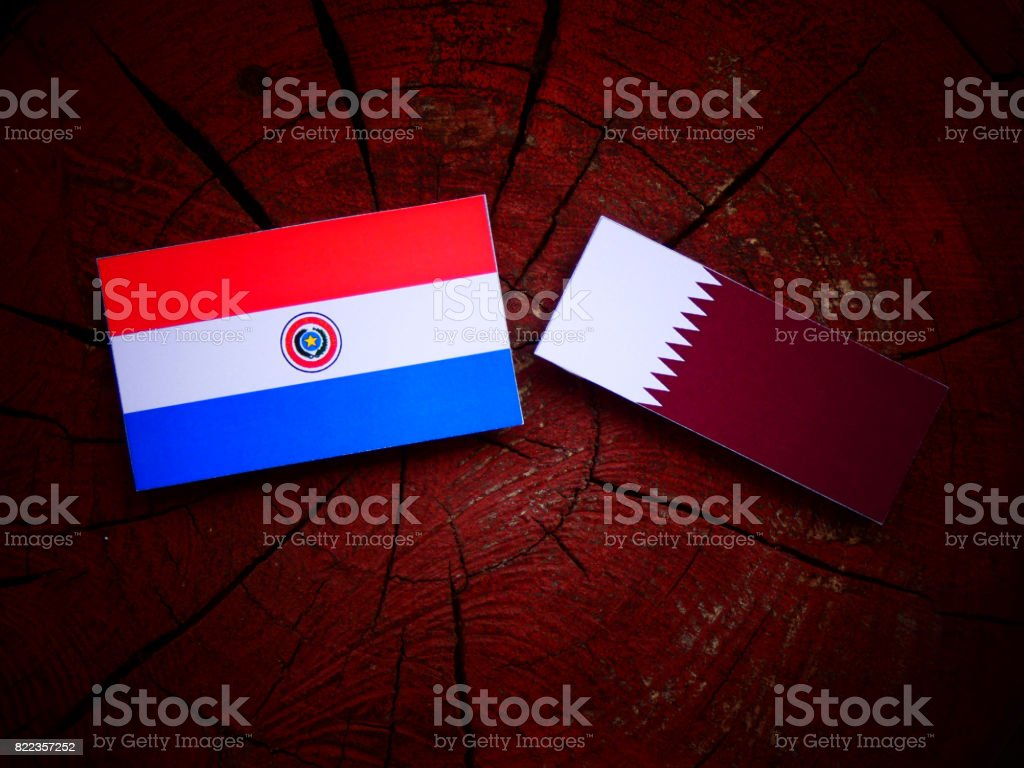 Paraguay flag with Qatari flag on a tree stump isolated stock photo