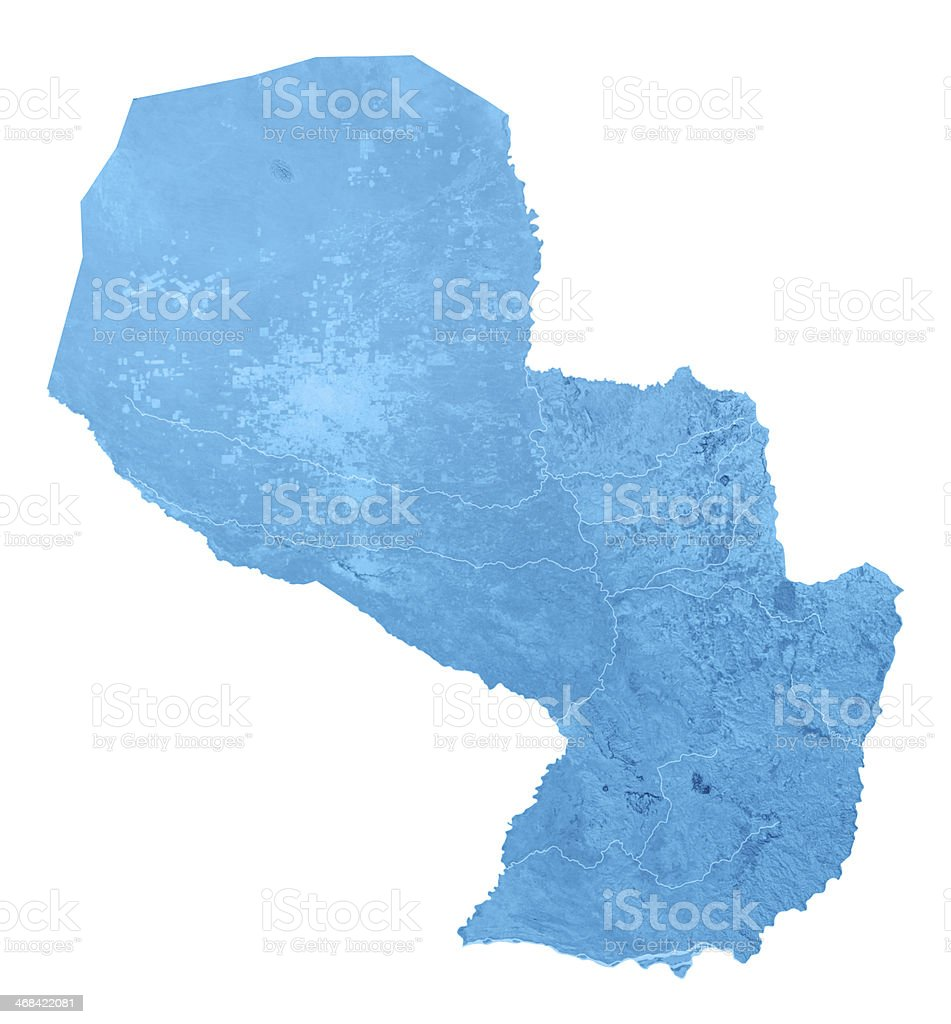 Paraguay Topographic Map Isolated stock photo