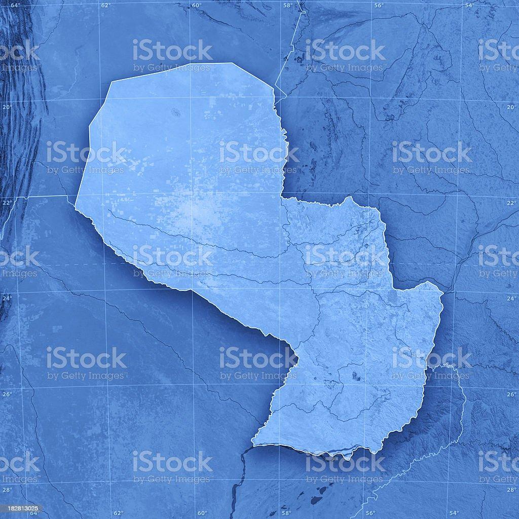 Paraguay Topographic Map stock photo