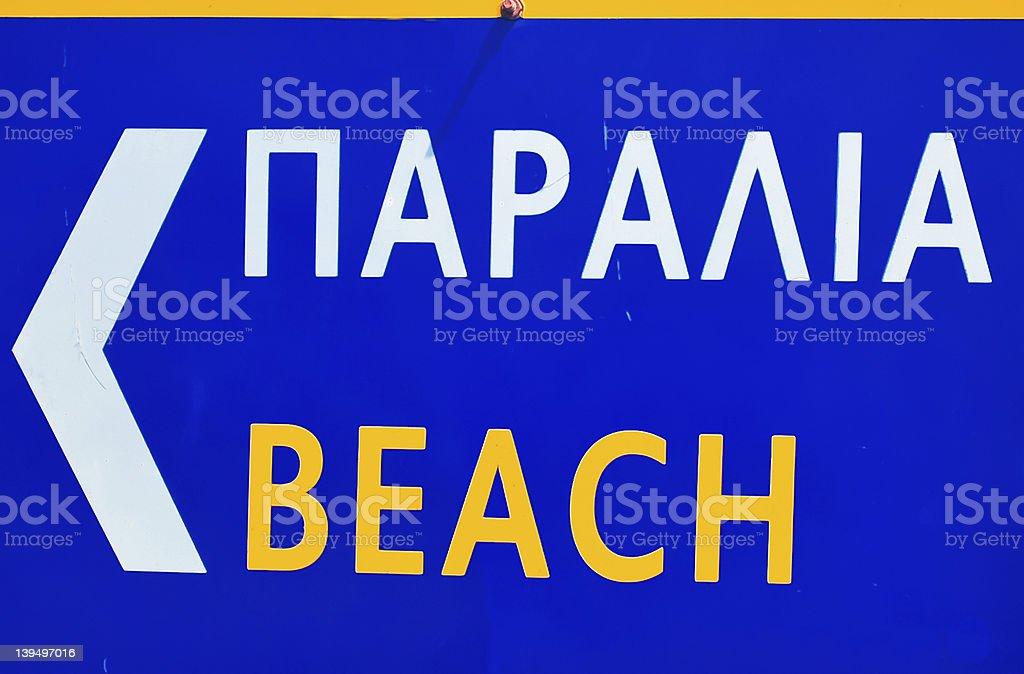 Paralia/Strand-griechische Straße Wegweiser Lizenzfreies stock-foto