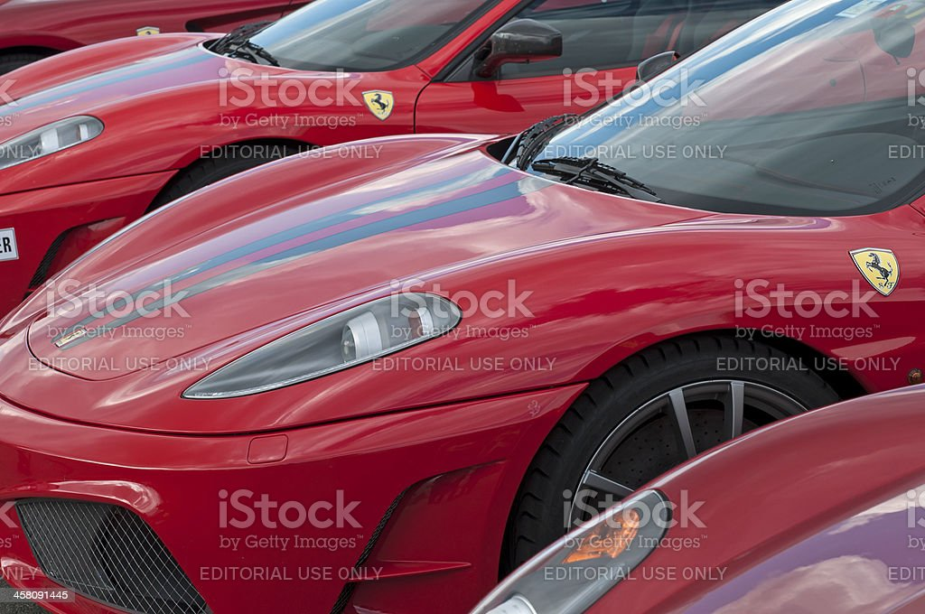 Parallel Ferrari noses stock photo