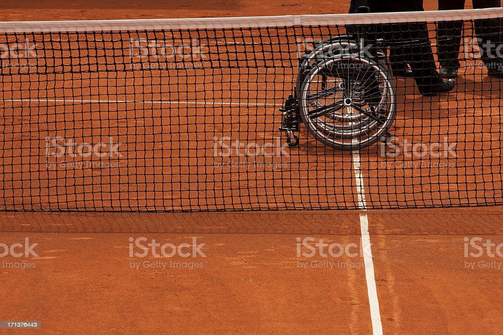 paralympic tennis concept. Clay court stock photo
