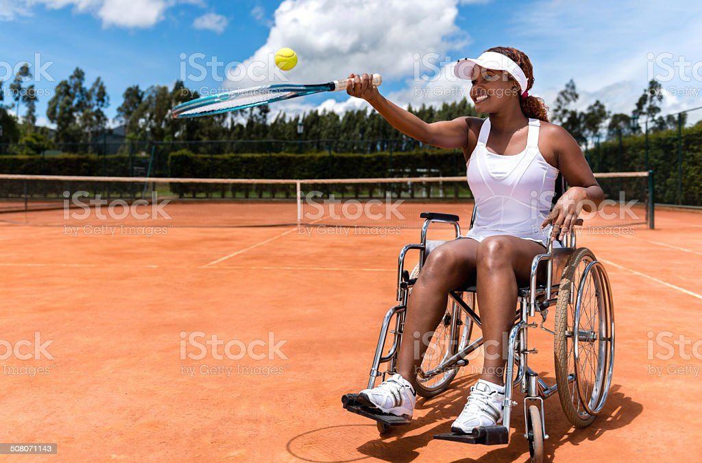 Paralympic tennis player stock photo