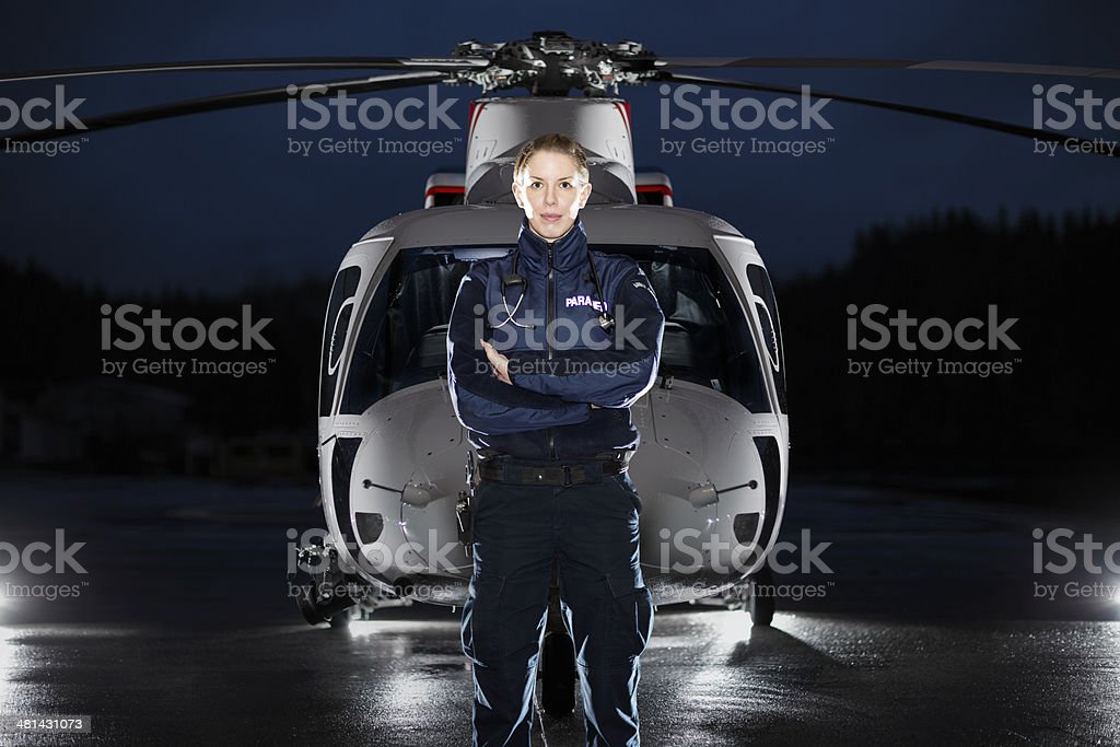 Paramedic and Medevac Helicopter stock photo
