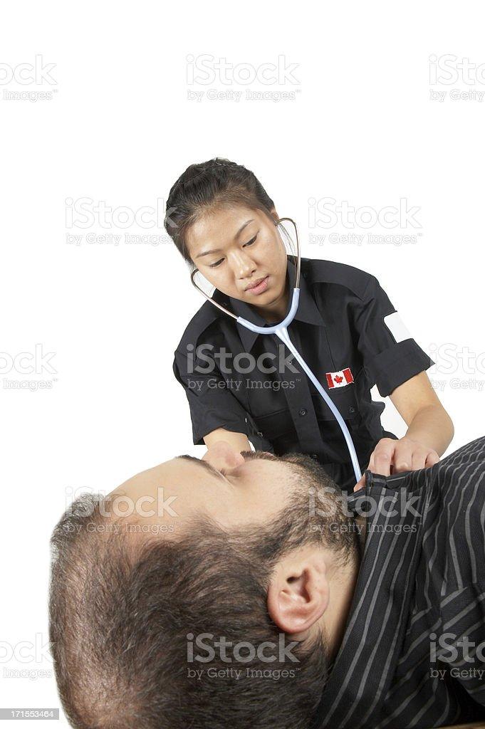 paramedic hard at work   man down #2 royalty-free stock photo