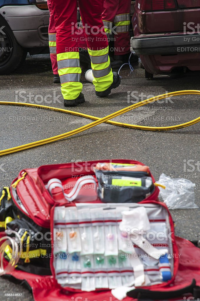 Paramedic in action,show practice, Operation traffic accident stock photo