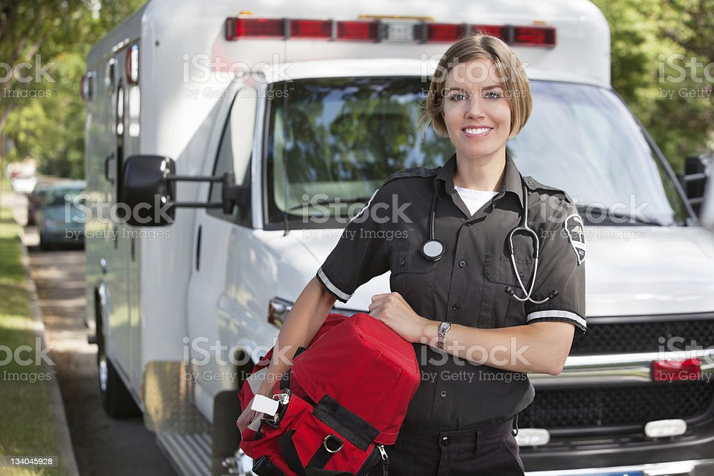 Paramedic with Oxygen Unit stock photo
