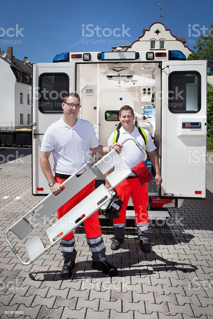 Paramedics ambulance medical equipment emergency scoop stretcher stock photo