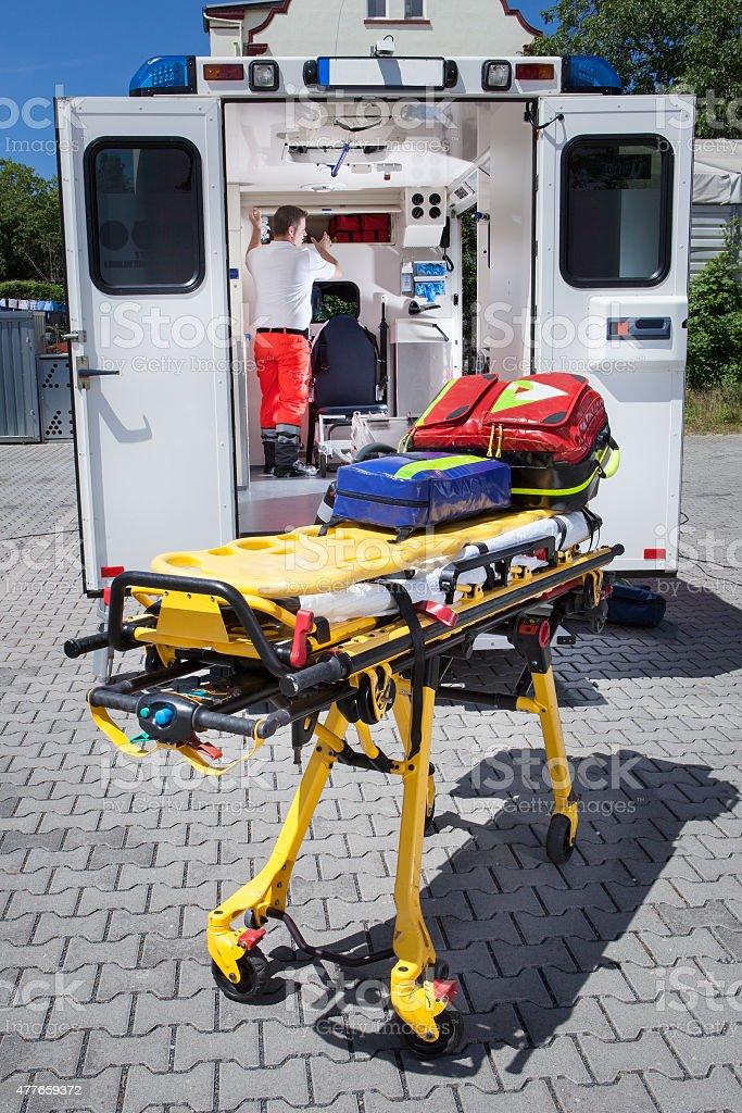 Paramedics ambulance medical equipment emergency stretcher stock photo