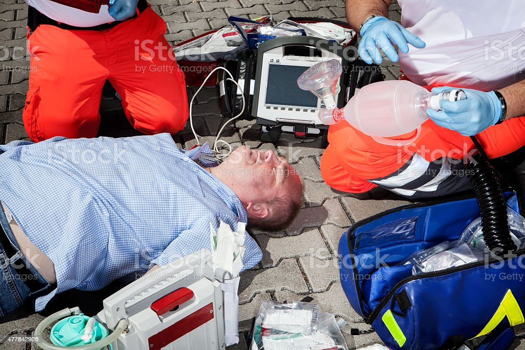 Paramedics CPR medical equipment emergency first aid stock photo