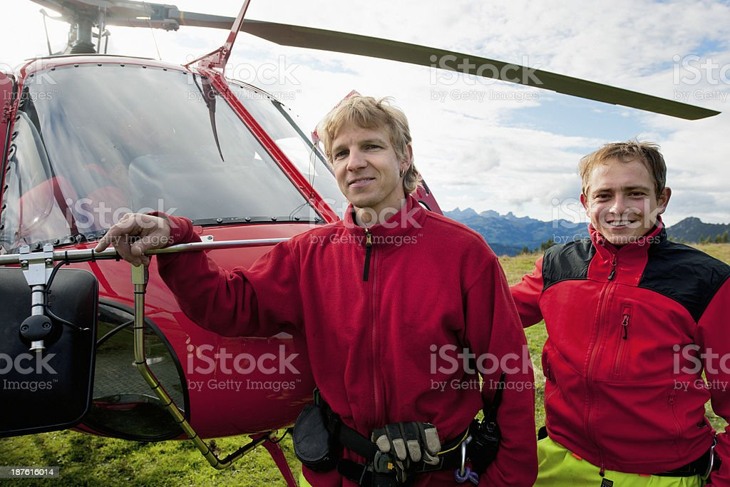 paramedics in front of rescue helicopter royalty-free stock photo