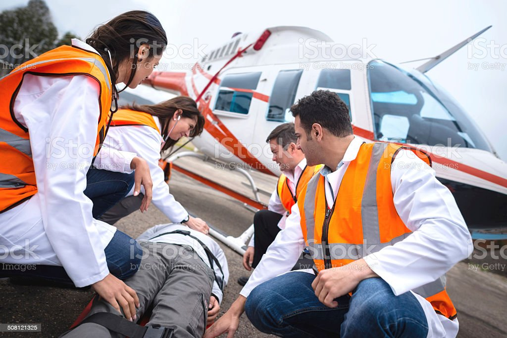 Paramedics on an air ambulance stock photo