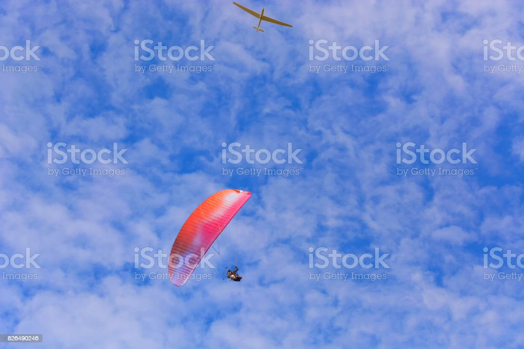 Paramotor wing airman  and glider stock photo