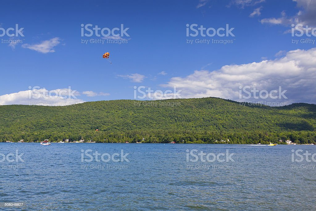 Parasail at Lake George, NY. stock photo