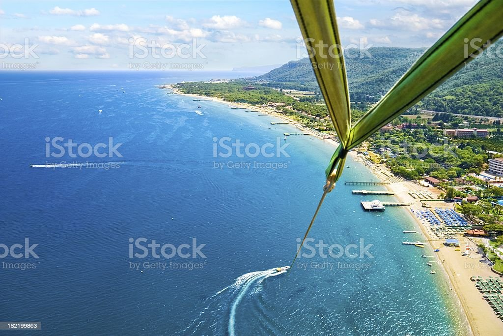Parasailing. Bird's eye view royalty-free stock photo