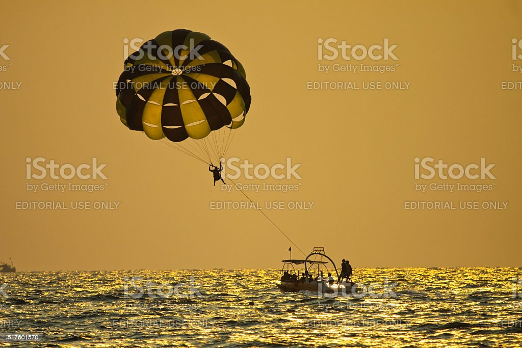 Parasailing in afternoon stock photo
