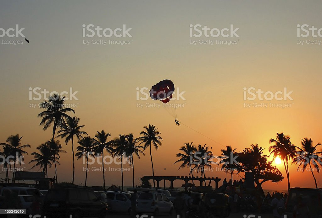 Parasailing in Goa stock photo