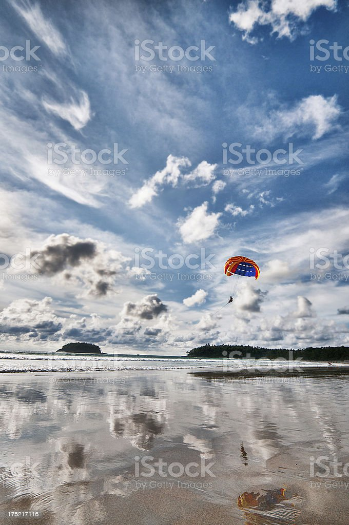 Parasailing in the Summer stock photo