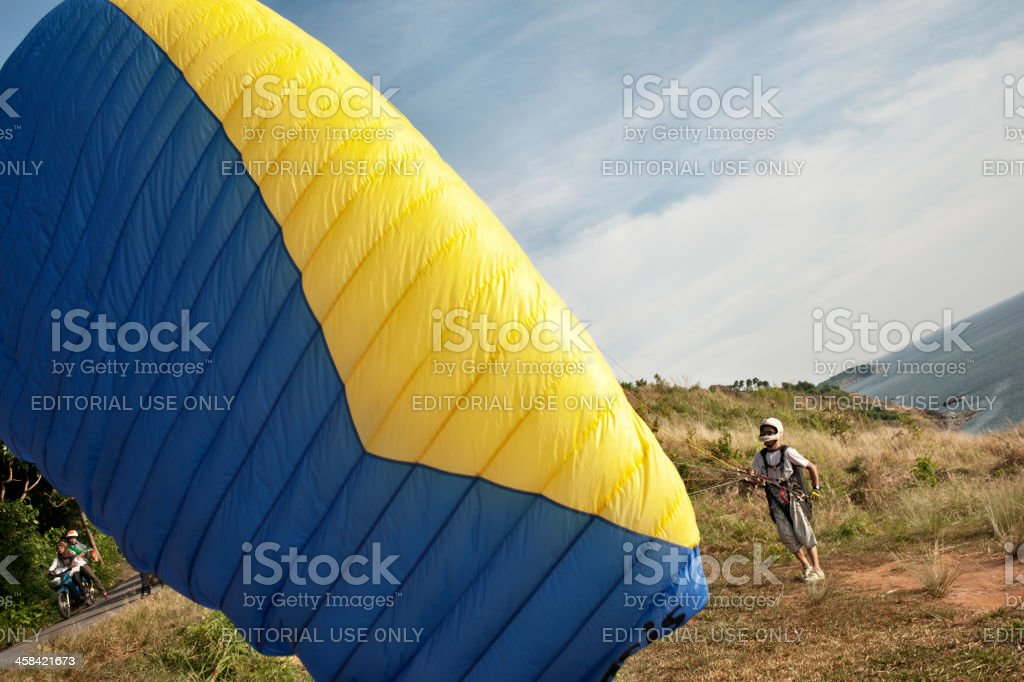 Parasailing of the Cliff Top in Phuket stock photo
