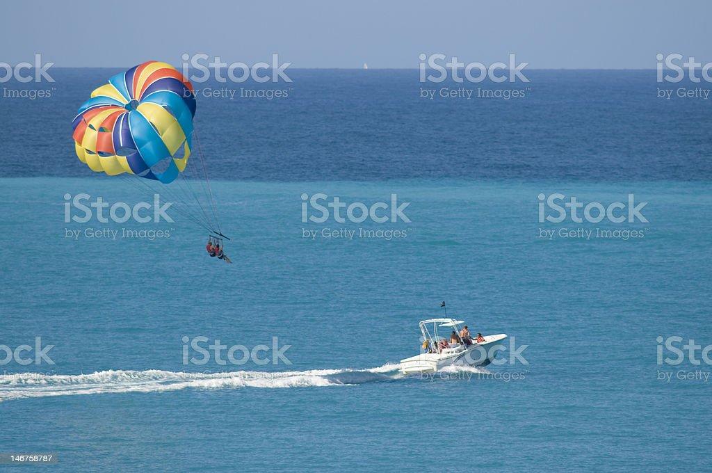 Parasailing on vacation stock photo