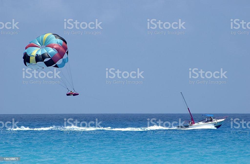 Parasailing over Cancun II stock photo