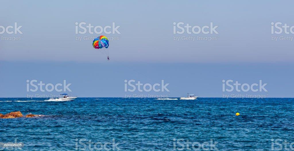 Parasailing water sport, Cyprus stock photo