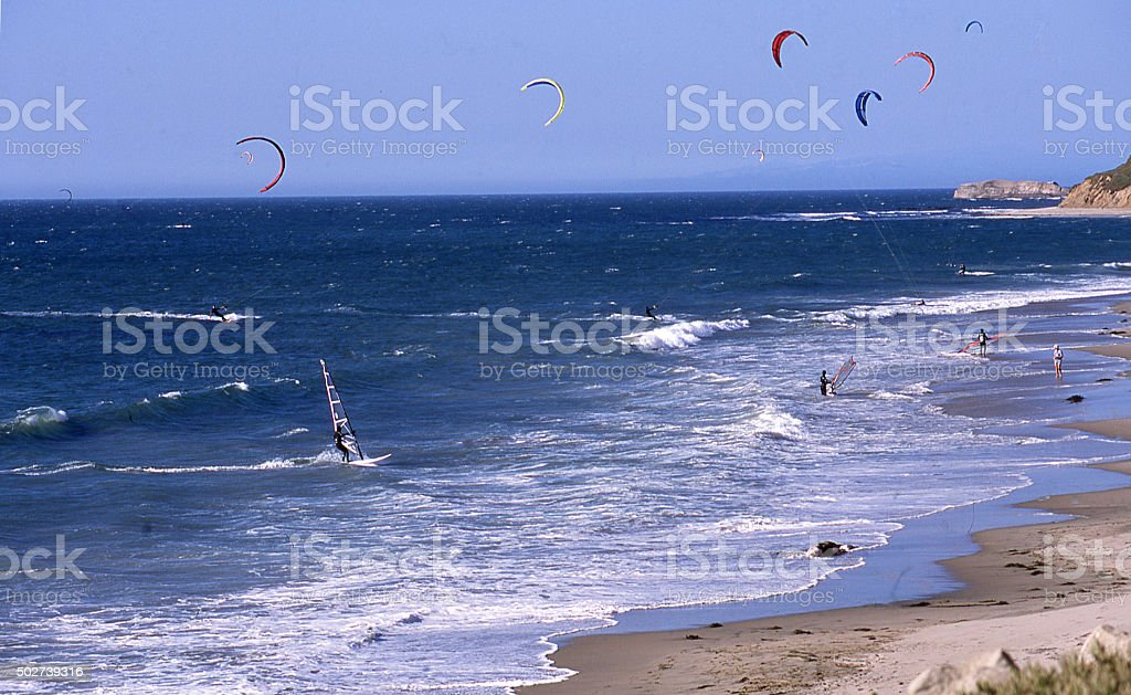 Para-sailing wind surfing San Gregorio State Beach Pacific Ocean California stock photo