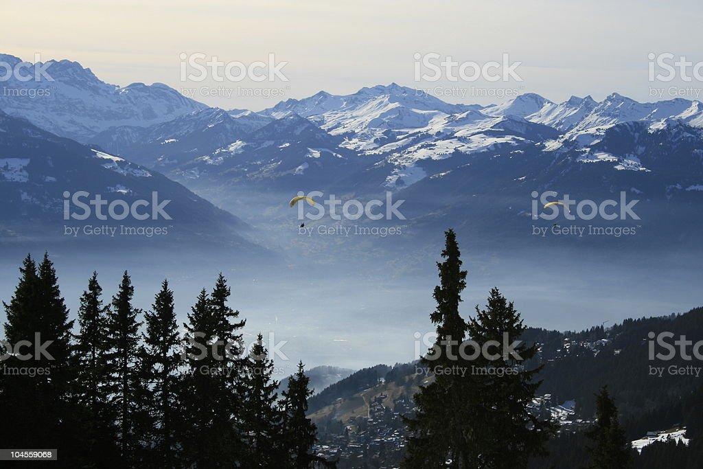 Paraskiing at Swiss Alps stock photo