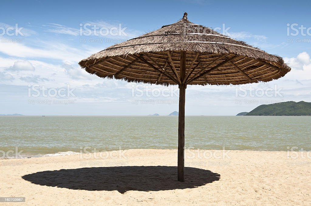 Parasol On A Tropical Beach In Nha Trang, Vietnam royalty-free stock photo