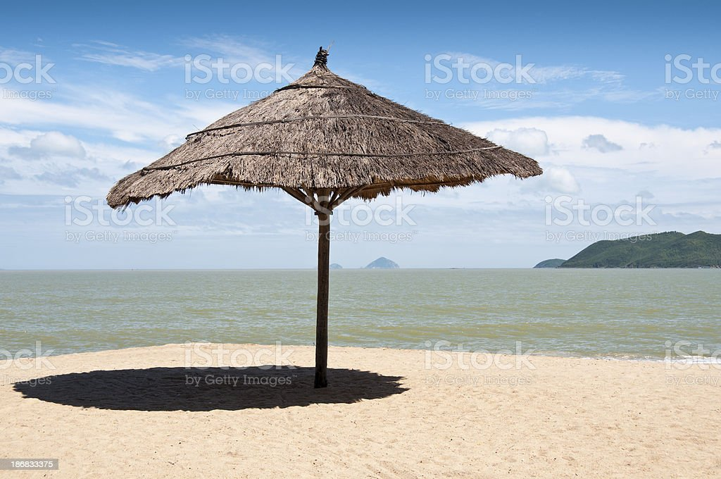 Parasol On Nha Trang Beach In Vietnam royalty-free stock photo