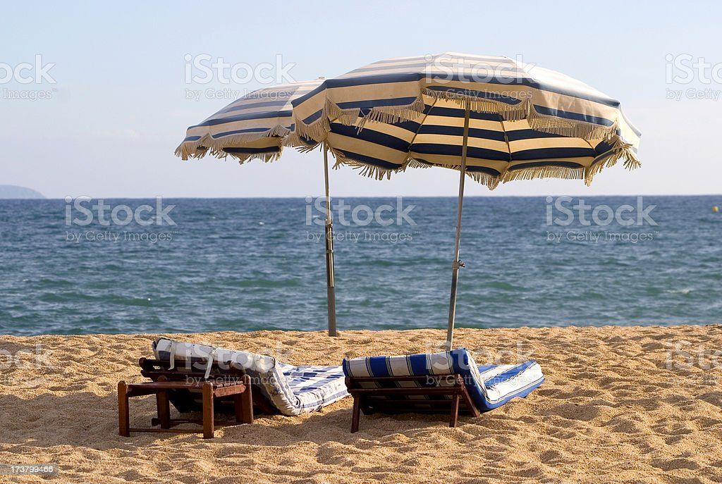 Parasols (landscape)- Corsican beaches serie royalty-free stock photo
