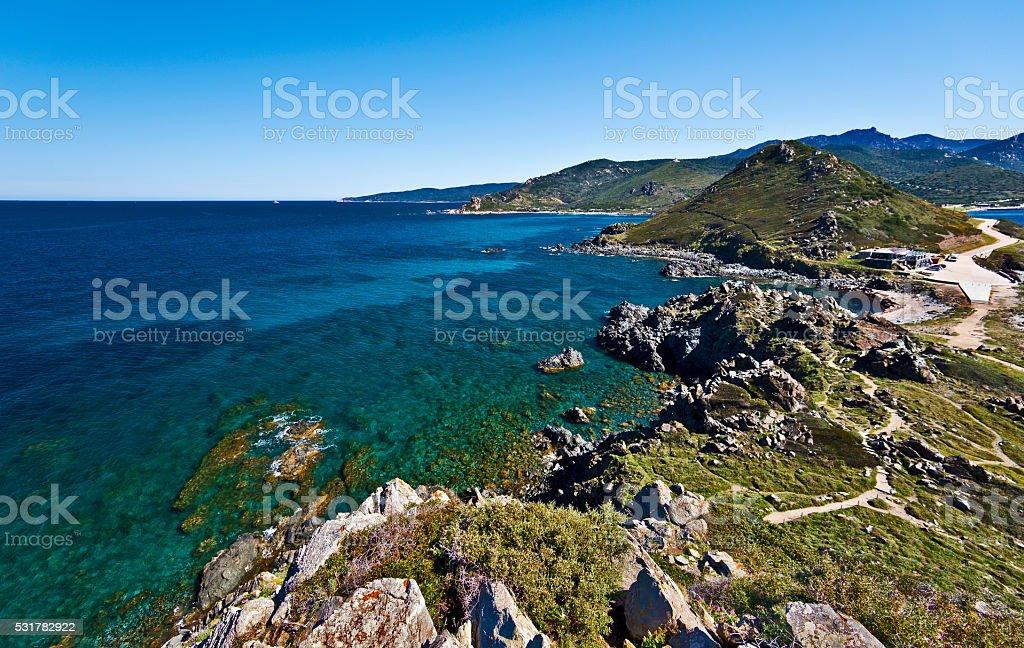 Parata peninsula seen from Genoese Tower stock photo