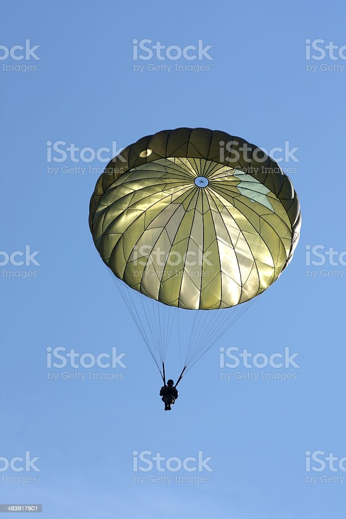 Paratrooper During a Military Drill stock photo