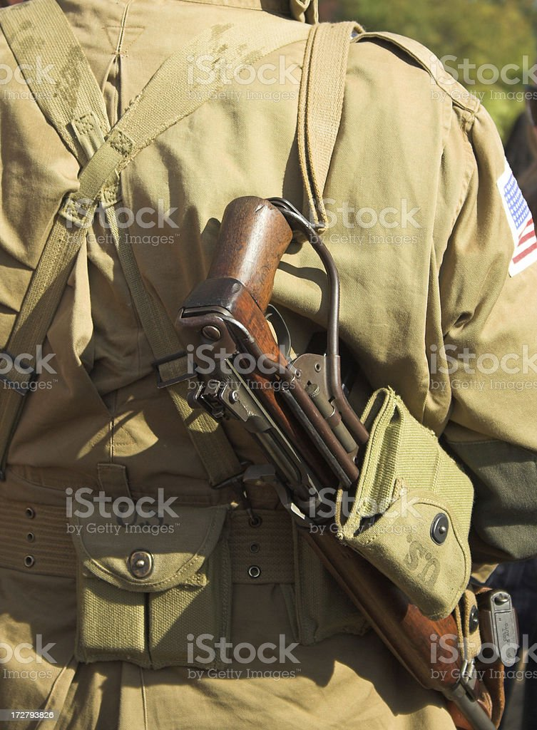WW2 US paratrooper with a rifle royalty-free stock photo