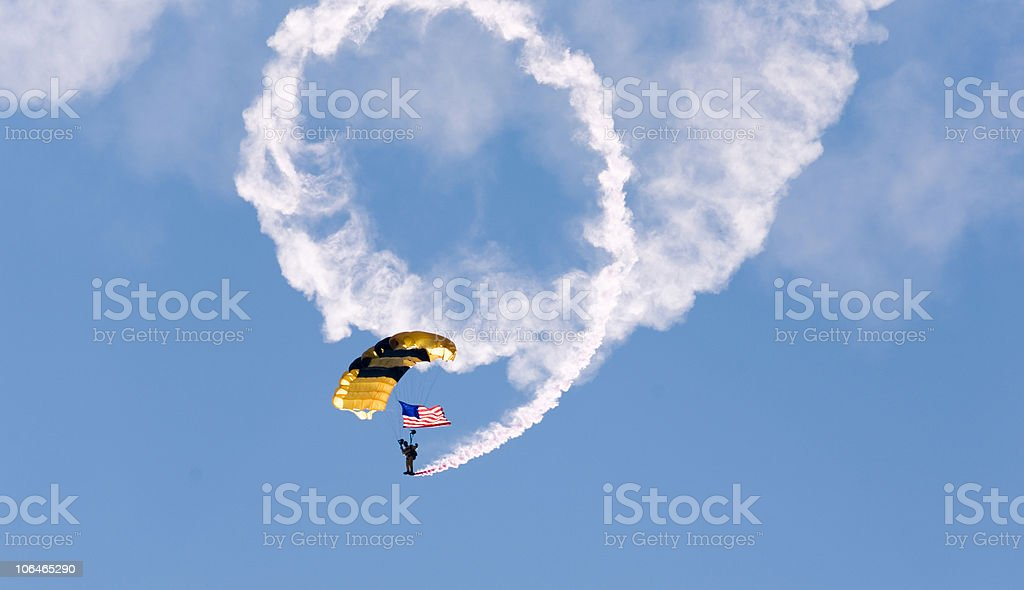 Paratrooper with American Flag royalty-free stock photo