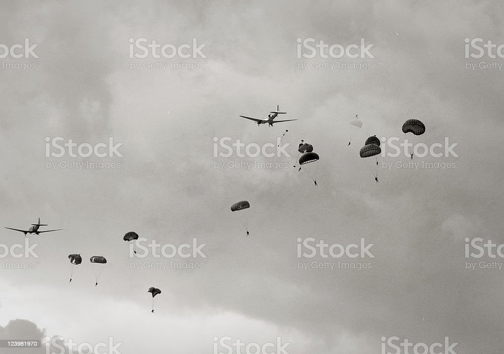 Paratroopers air drop stock photo