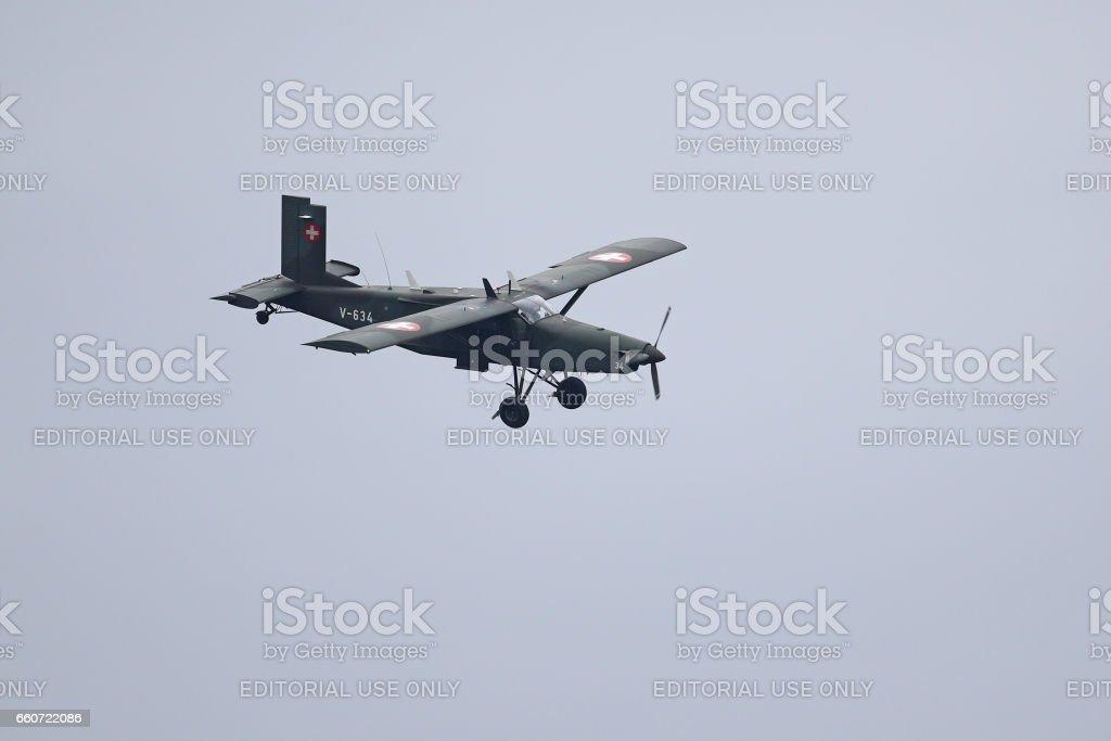 Paratroopers' Pilatus PC-6 Porter in flight stock photo
