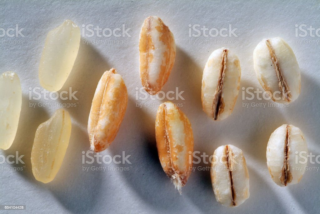 Parboiled rice grains barley and spelled stock photo