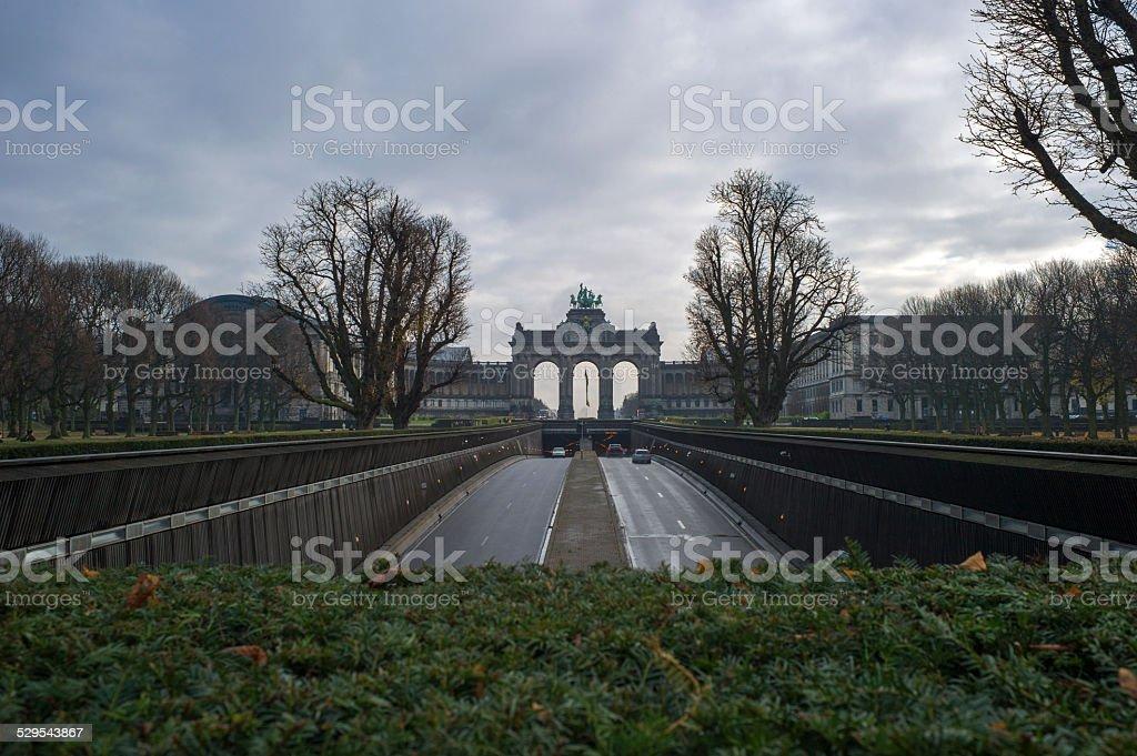 parc du cinquantenaire in brussel belgium stock photo