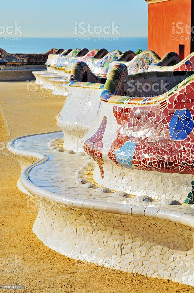 Parc Güell - Mosaic Bench by Antoni Gaudí, Barcelona, Spain stock photo