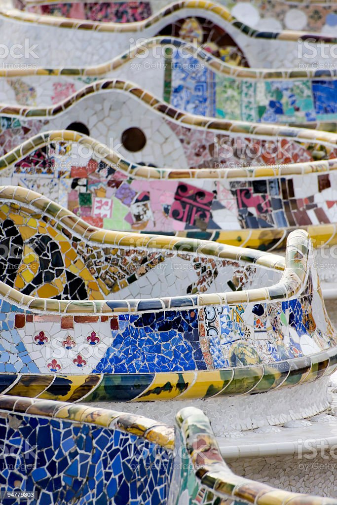 Parc Guell Bench, Artistic Architecture by Antoni Gaudì in Barcelona stock photo