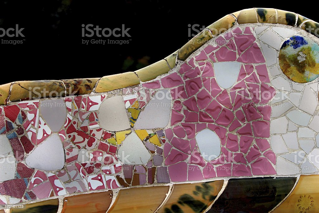 Parc Guell Bench by Gaudi Barcelona, Spain royalty-free stock photo