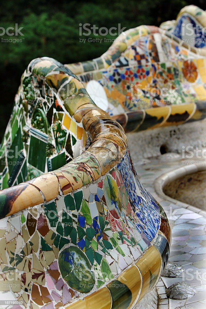 Parc Guell Benches by Gaudi Barcelona Spain stock photo