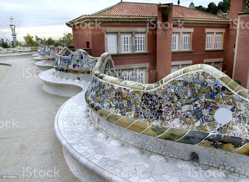 Parc Guell Benches by Gaudi Barcelona, Spain royalty-free stock photo