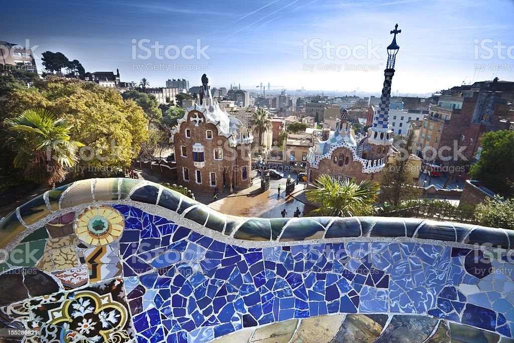 Parc Guell by Gaudi in Barcelona, Spain stock photo