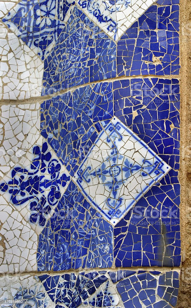 Parc Guell by Gaudi Tile royalty-free stock photo