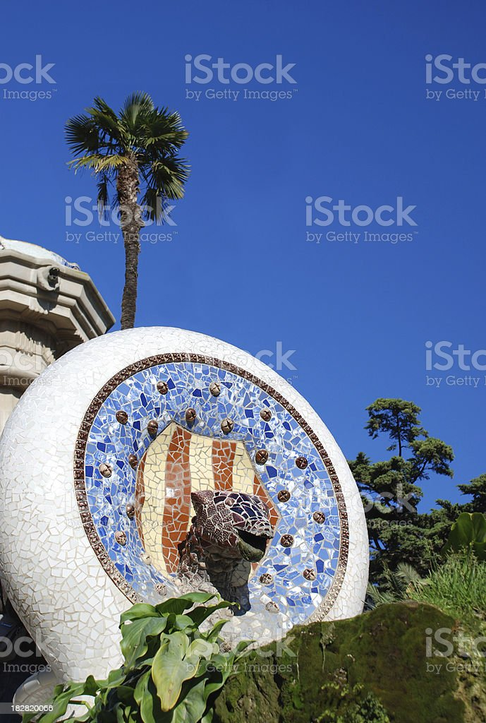 Parc Guell entrance leopard by Gaudi, Barcelona royalty-free stock photo