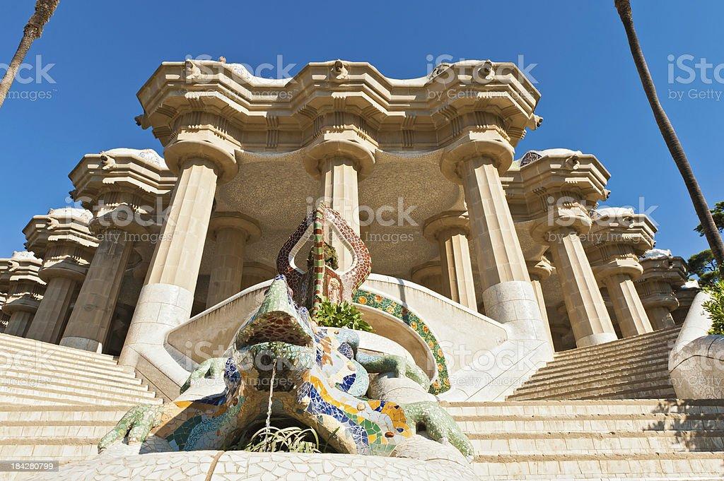 Parc Guell Gaudi's mosaic dragon terrace Barcelona Spain royalty-free stock photo